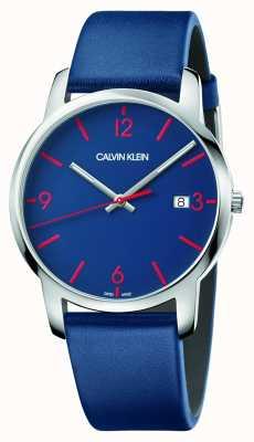 Calvin Klein El   ciudad de los hombres   correa de cuero azul   esfera azul   K2G2G1VX