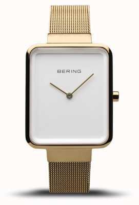 Bering Clásico de las mujeres | malla de oro pulido / cepillado | esfera blanca | 14528-334