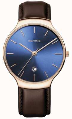 Bering El | clásico de mujer | correa de cuero marrón | esfera azul | 13338-567