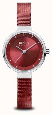 Bering Solar | plata pulida | pulsera de malla roja | esfera roja | 14627-303