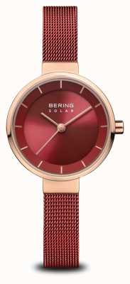 Bering El | solar para mujer | oro rosa pulido | malla roja | esfera roja | 14627-363