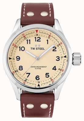 TW Steel El | hombres | volante suizo | esfera crema | correa de cuero marrón | SVS101