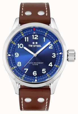 TW Steel El | hombres | volante suizo | esfera azul | correa de cuero marrón | SVS102
