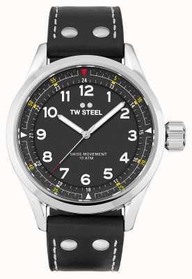 TW Steel El | hombres | volante suizo | esfera negra | correa de cuero negro | SVS103
