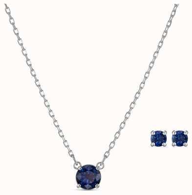 Swarovski El | atraer conjunto redondo | collar y pendientes azules | 5536554