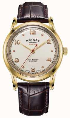 Rotary Hombres | edición limitada | patrimonio | correa de cuero marrón GS05143/03
