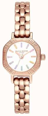Olivia Burton El | pulsera de oro rosa pálido arcoiris | esfera blanca | OB16CC50