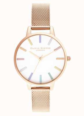 Olivia Burton El | mujeres | arcoiris | pulsera de malla de oro rosa | OB16RB24