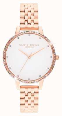 Olivia Burton | mujeres | bisel de arco iris | pulsera de oro rosa | OB16RB21