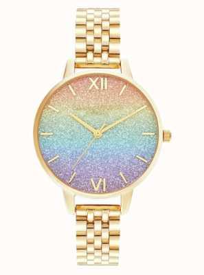 Olivia Burton El | esfera del brillo del arco iris | pulsera de oro | OB16RB23