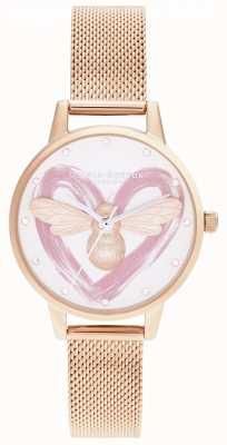 Olivia Burton Lucky bee, plata y malla de oro rosa OB16FB01