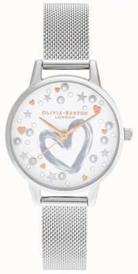 Olivia Burton Pulsera de malla de oro rosa y plata OB16LH12