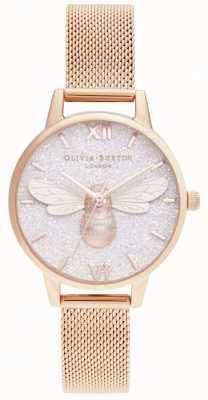 Olivia Burton | esfera brillante abeja de la suerte y malla de oro rosa | OB16FB04