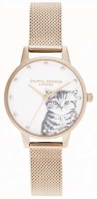 Olivia Burton Gatito ilustrado nacarado malla de oro rosa OB16WL88