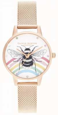 Olivia Burton Abeja arcoiris ilustrada, malla de oro rosa OB16WL90