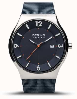Bering El | hombres | solar delgado | azul marino | pulsera de malla | 14440-307