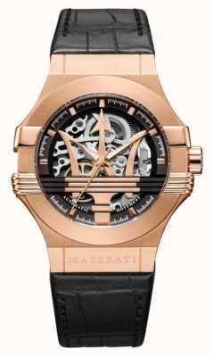 Maserati Potenza | correa de cuero negro | caja chapada en pvd de oro rosa | R8821108030