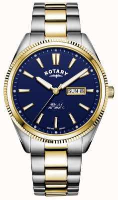 Rotary Henley para hombre | pulsera de acero inoxidable bicolor | esfera azul GB05381/05