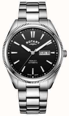 Rotary Henley para hombre | pulsera de acero inoxidable | esfera negra | GB05380/04