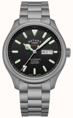 Rotary Hombres henley automático | pulsera de titanio | esfera negra | GB05249/04