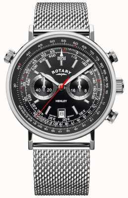 Rotary Henley para hombre | pulsera de malla de acero | esfera negra | GB05235/04