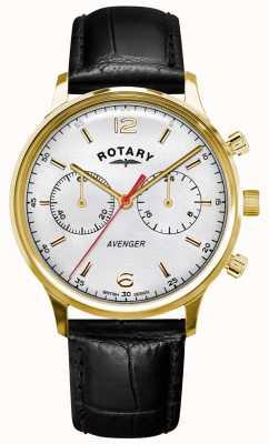 Rotary Vengador de hombres | correa de cuero negro | caja de oro | esfera blanca GS05206/70