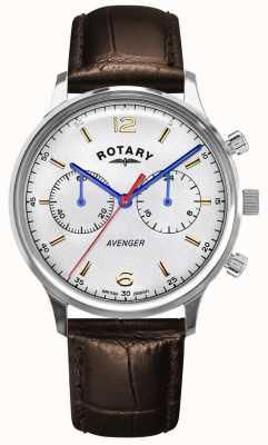 Rotary Vengador de hombres | correa de cuero marrón | esfera plateada GS05203/70