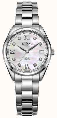 Rotary Henley para mujer | pulsera de acero inoxidable | esfera de diamantes LB05110/07/D