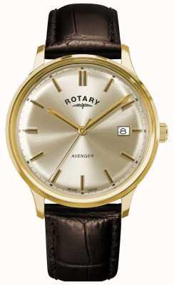 Rotary Vengador de hombres | correa de cuero marrón | esfera de champán GS05403/03