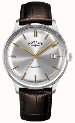 Rotary Vengador de hombres | correa de cuero marrón | esfera plateada | GS05400/06
