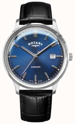 Rotary Vengador de hombres | correa de cuero negro | esfera azul | GS05400/05