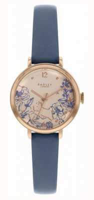 Radley El   correa de cuero azul marino para mujer   esfera con estampado floral   RY2978