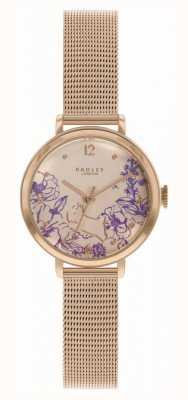 Radley El | pulsera de malla de oro rosa para mujer | esfera con estampado floral RY4524