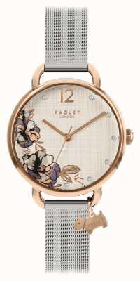 Radley El | pulsera de malla plateada para mujer | esfera con estampado floral | RY4525