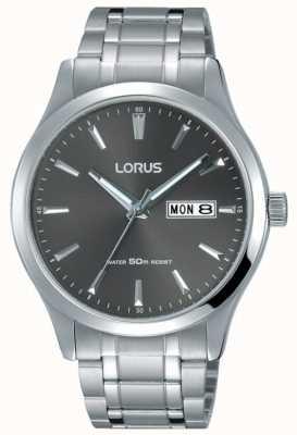Lorus Pulsera de acero inoxidable para hombre esfera gris RXN35DX9