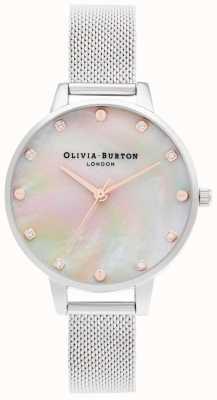 Olivia Burton | esfera demi mop con detalle de tornillo | pulsera de malla de plata | OB16SE07