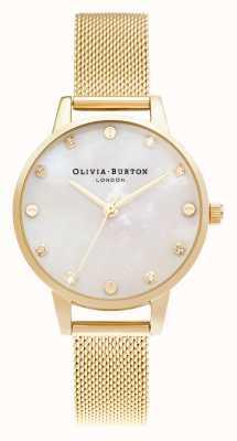 Olivia Burton   esfera midi de fregona con detalle de rosca   pulsera de malla de oro pálido   OB16SE08