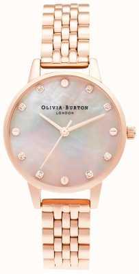 Olivia Burton | esfera midi de fregona con detalle de rosca | pulsera de oro rosa | OB16SE10