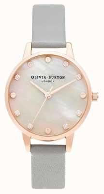 Olivia Burton | esfera midi de fregona con detalle de rosca | gris y oro rosa | OB16SE12