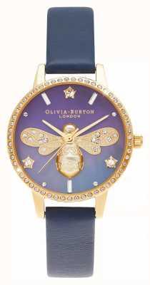 Olivia Burton Nácar esfera midi abeja brillante cuero azul OB16GB06