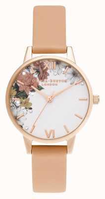 Olivia Burton | brillo floral | midi | oro rosa | correa de coral | OB16BF30