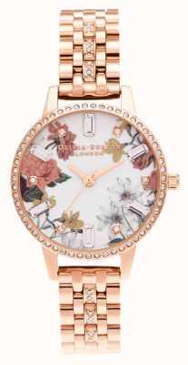 Olivia Burton | midi floral | pulsera de oro rosa con brillo | OB16BF34