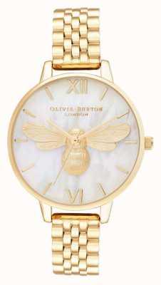 Olivia Burton Pulsera de oro con esfera de nácar de Lucky Bee OB16FB18