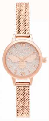 Olivia Burton Lucky bee mini dial pulsera de malla de oro rosa OB16FB15