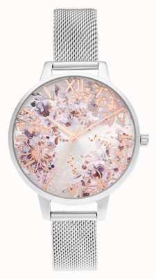 Olivia Burton Demi silver & rose gold mesh abstracto floral OB16VM46
