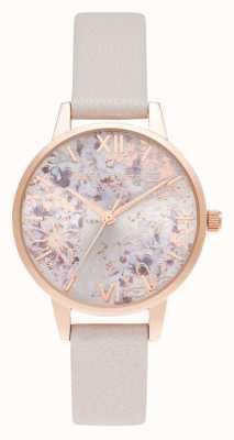 Olivia Burton Esfera floral abstracta midi perla rosa y oro rosa OB16VM47