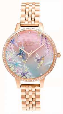 Olivia Burton Pulsera de oro rosa con colibrí brillante OB16PP60