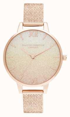 Olivia Burton Sunset ombre glitter demi dial malla boucle de oro rosa OB16US58