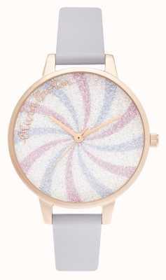 Olivia Burton Glitter lolly demi dial parma violeta y oro rosa OB16CD03