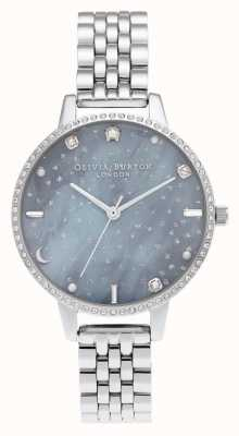 Olivia Burton Pulsera de plata con esfera demi cielo nocturno OB16GD65
